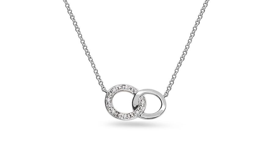 24c1590089f Briliantový náhrdelník z bílého zlata s kroužky 0.020 ct