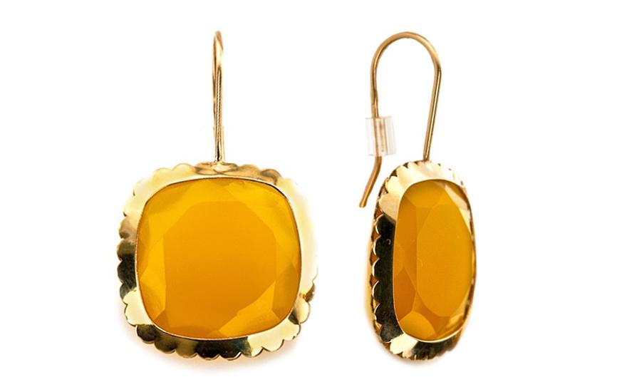 Dámské náušnice s achátem ve zlatě IZ5196