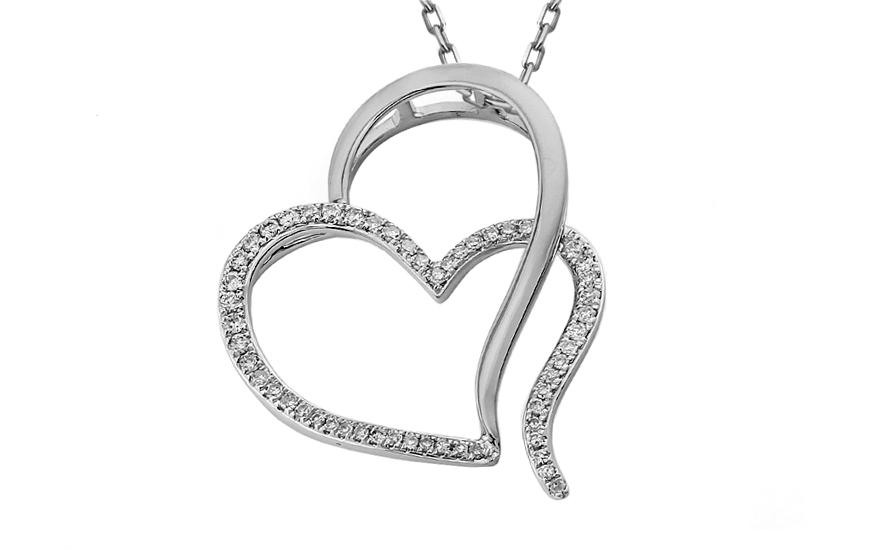 Diamantové dvojité srdíčko z bílého zlata IZBR328A
