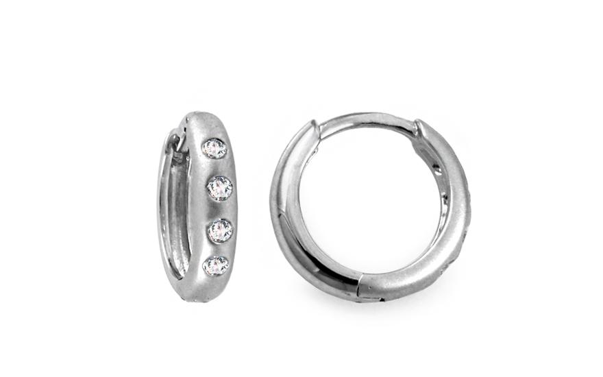 Diamantové náušnice kroužky z bílého zlata KU428