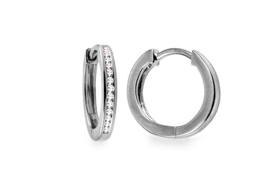 Diamantové náušnice kroužky z bílého zlata KU456A