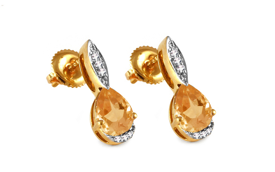 Diamantové náušnice s citrínem 0,040 ct Sumenis KU292N