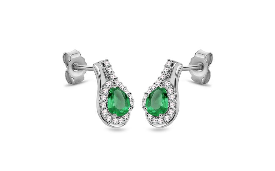 Diamantové náušnice se smaragdem 0,170 ct Galimes KU300N