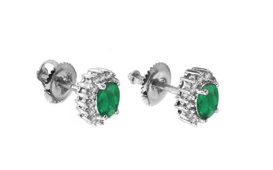 Diamantové náušnice se smaragdy KU125AN