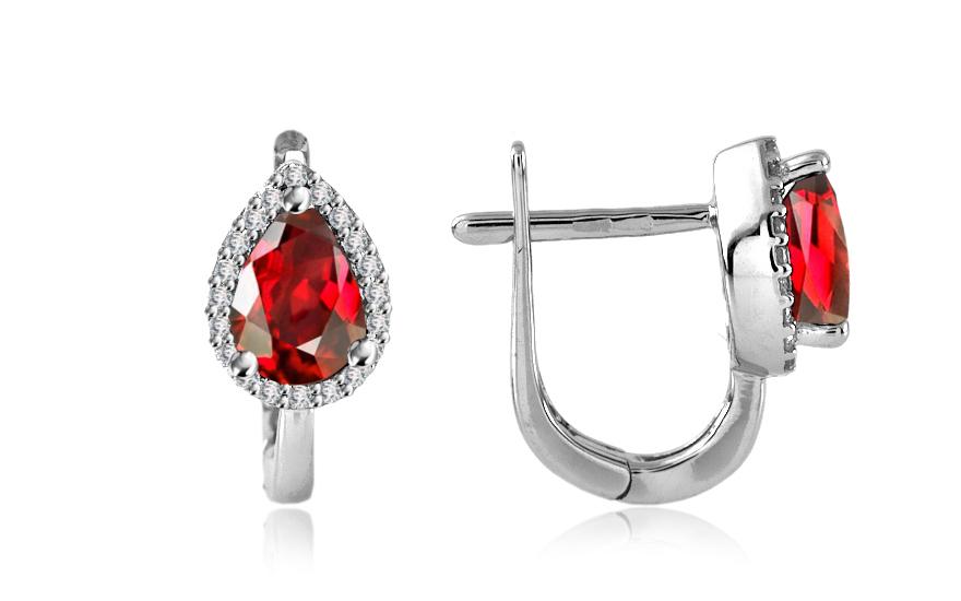 Diamantové náušnice 0,160 ct Victorian red Drop DM017AN