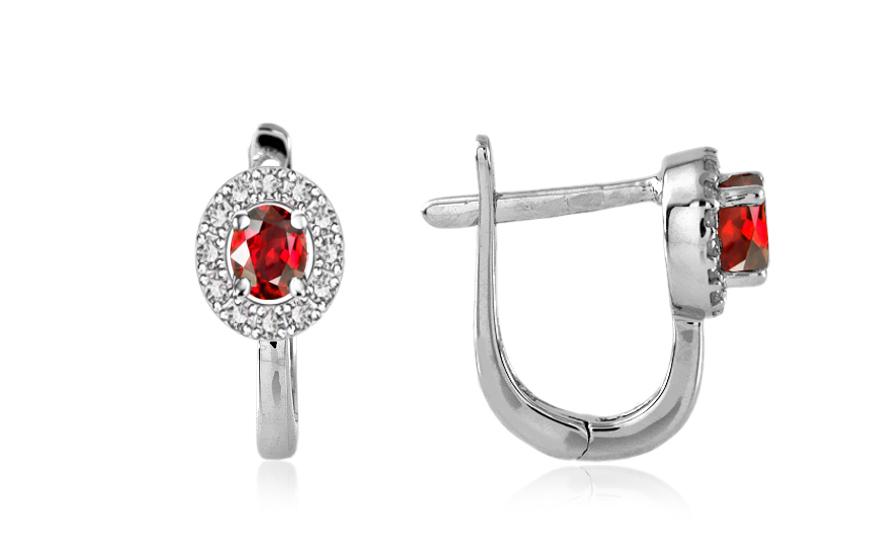 Diamantové náušnice 0,129 ct Victorian red Round DM011AN