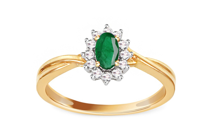 Smaragdový prsten s diamanty 0,110 ct Talea10 KU0089