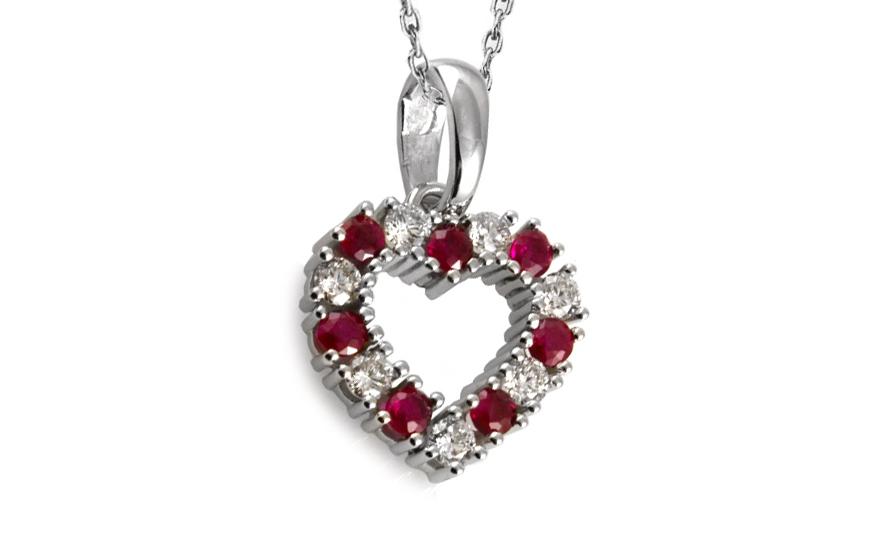 Diamantové srdíčko 0,350 ct Red Ruby Heart DB005A