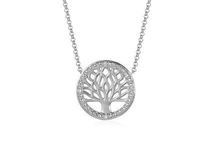 4db05fac2 Briliantový náhrdelník z bílého zlata s přívěskem Strom života 0.010 ct ...