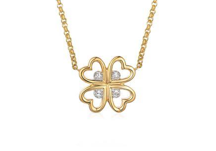 Zlatý diamantový náhrdelník s přívěskem Čtyřlístek pro štěstí 0.020 ct ... 668ef6f8678