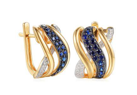a1e814085 Působivé zlaté safírové náušnice s diamanty 0,080 ct ...