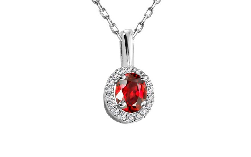Diamantový přívěsek 0,058 ct Victorian red Round DM011AP