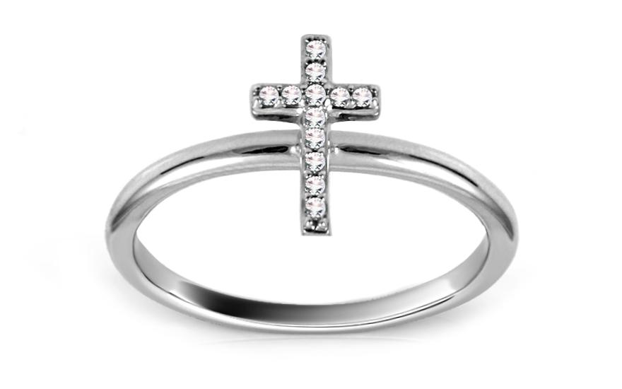 Diamantový prsten s křížkem KU436