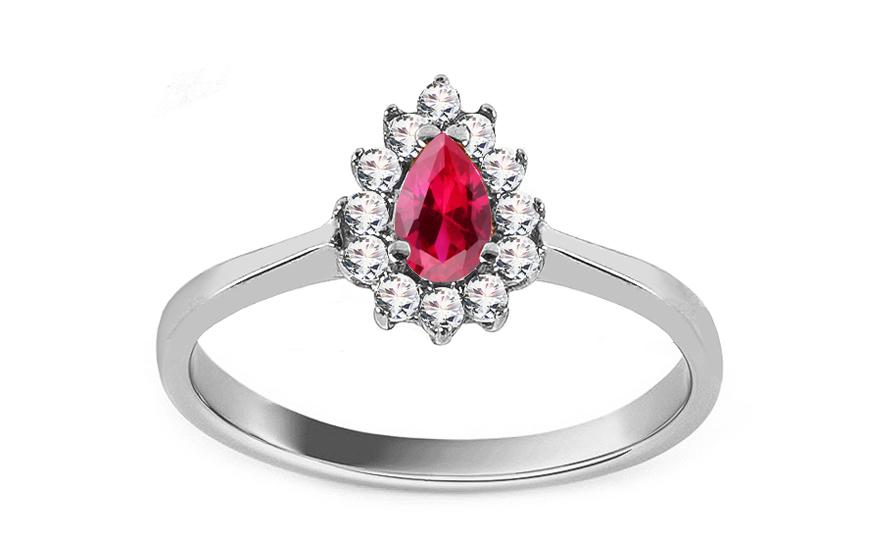 Diamantový prsten s rubínem z bílého zlata KU167A
