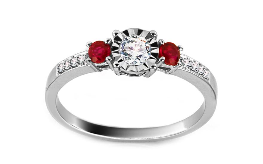 Diamantový prsten s rubíny z bílého zlata KU402RB