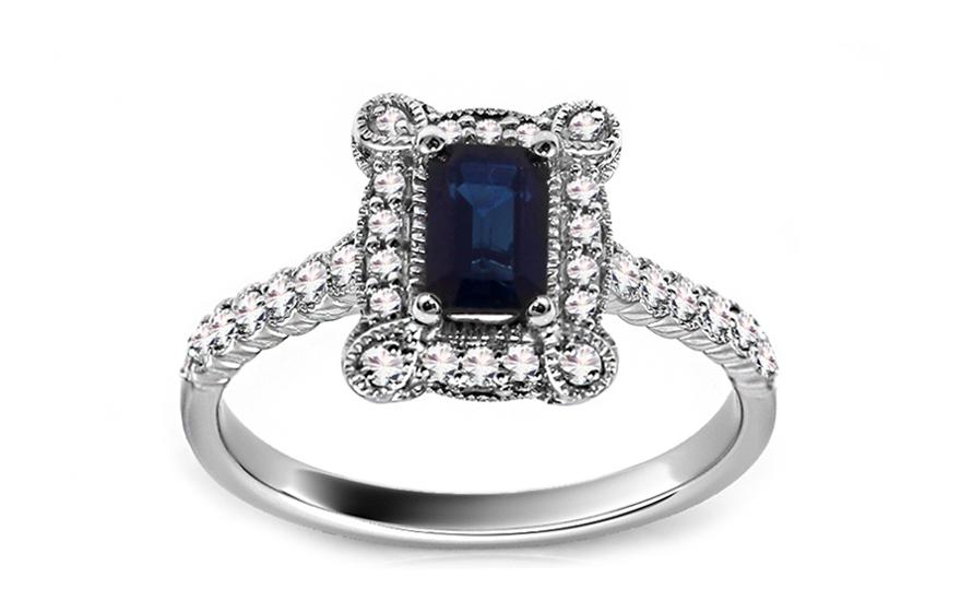 Diamantový prsten se safírem KU433