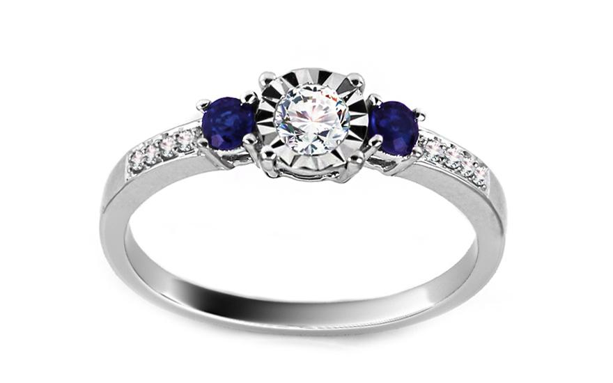Diamantový prsten se safíry z bílého zlata KU402Z