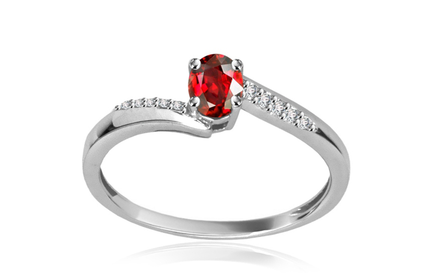 Diamantový prsten 0,047 ct Victorian red Beauty DM043A
