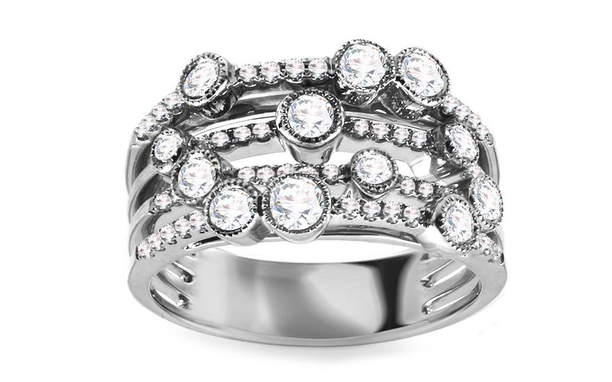 Diamantový prsten z bílého zlata KU434