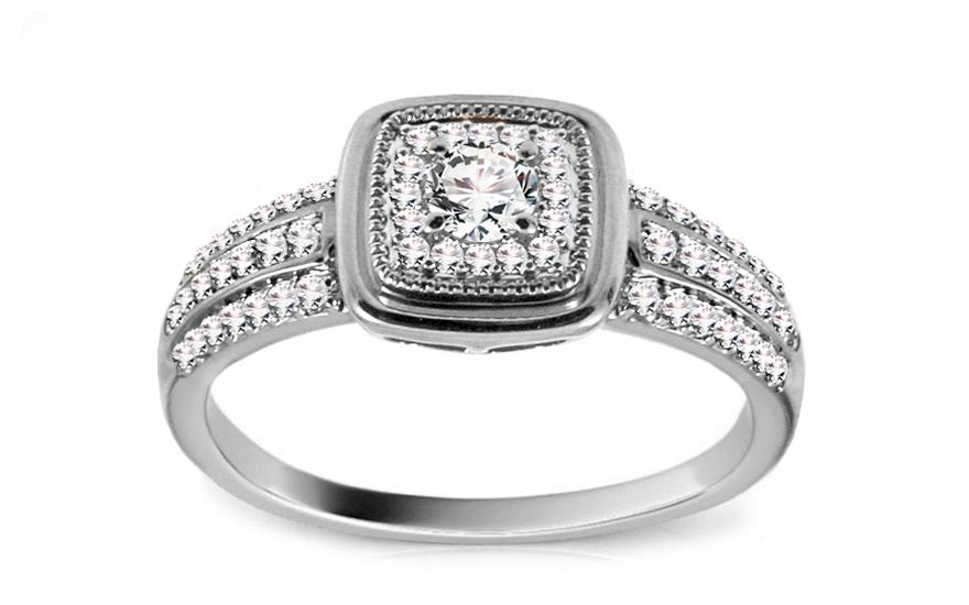 Diamantový prsten z bílého zlata KU445A