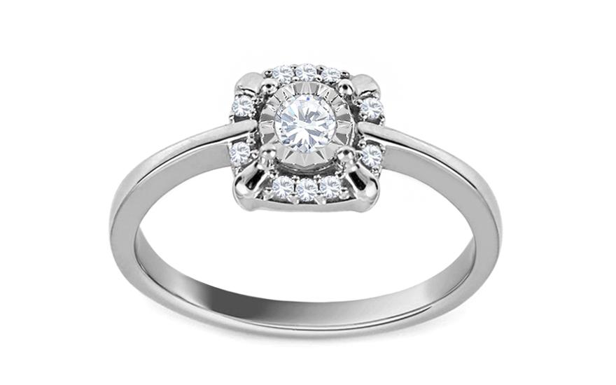 Diamantový prsten z bílého zlata Virgee KU534A