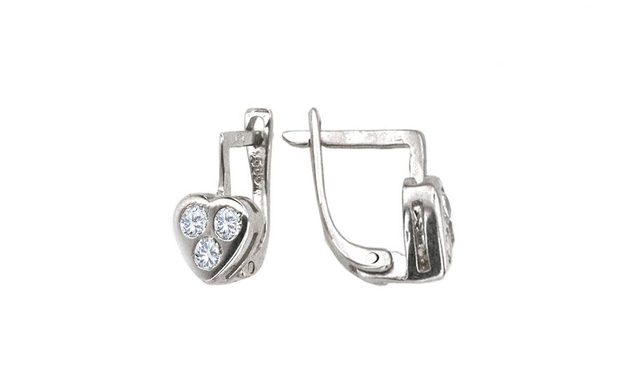 Dívčí náušnice Srdce s kamínky IZ3387