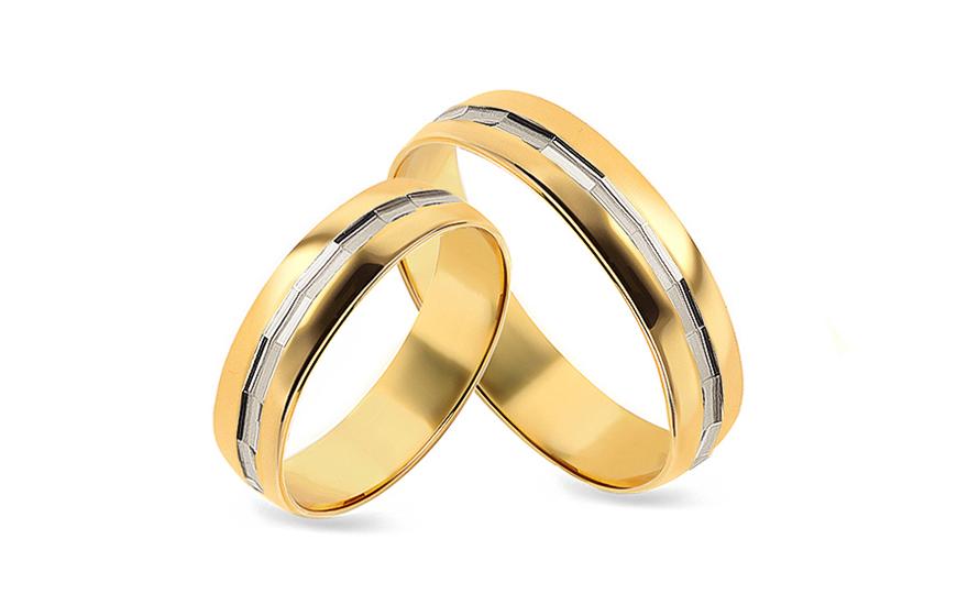 Snubní prsteny zaoblené dvoubarevné šířka 5 mm CSOB125