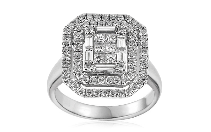 Exkluzivní zásnubní prsten s baguette a princess diamanty Margot IZBR311A