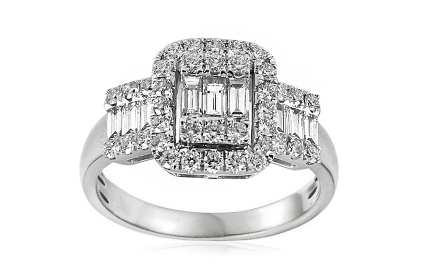 Exkluzivní zásnubní prsten s baguette diamanty Maura IZBR321A