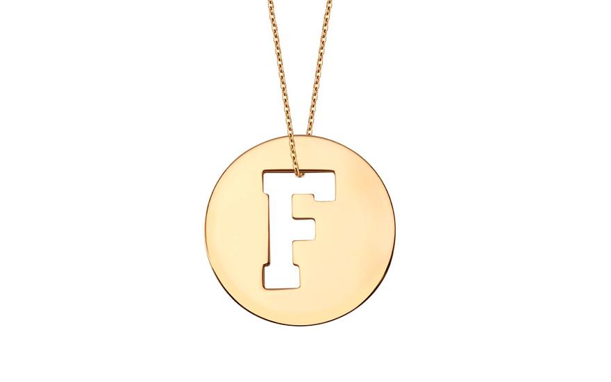 Iniciála - zlatý přívěsek písmeno F IZ11002