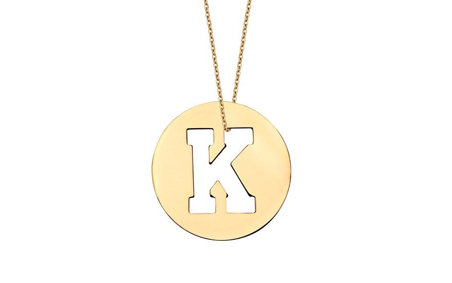 Iniciála - zlatý přívěsek písmeno K IZ11007
