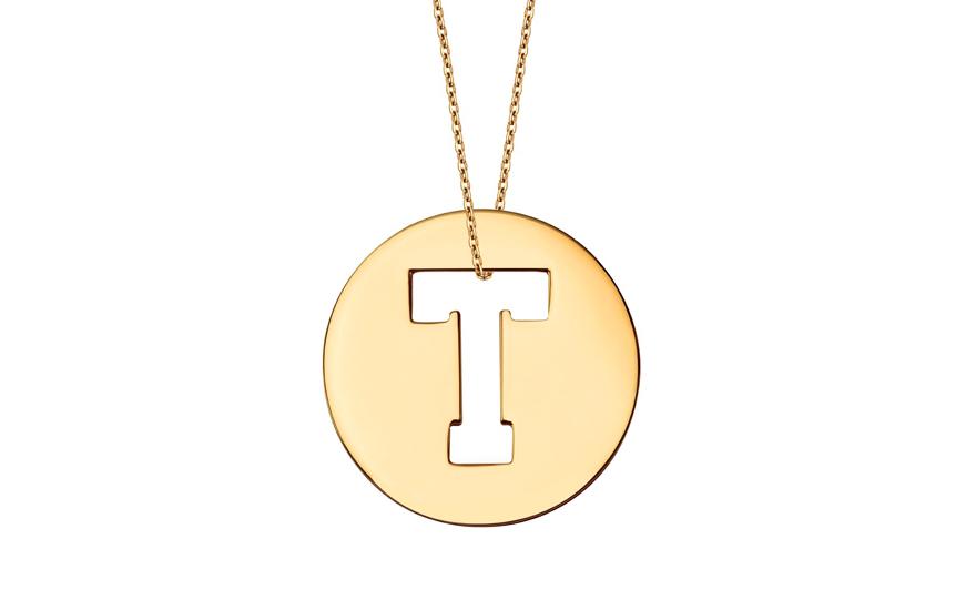 Iniciála - zlatý přívěsek písmeno T IZ11015