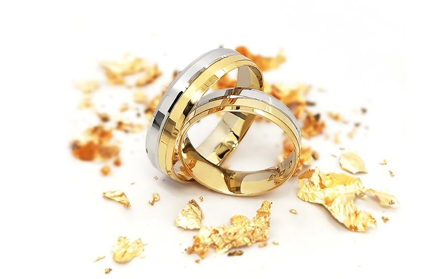 Snubní prsteny dvoubarevné šířka 5 mm CSOB140
