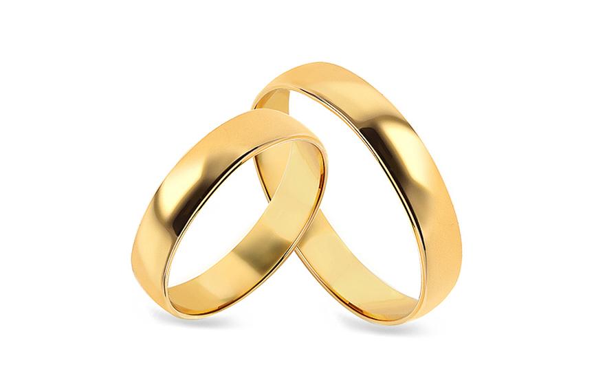 Snubní prsteny žluté klasické šířka 4 mm CSOB02