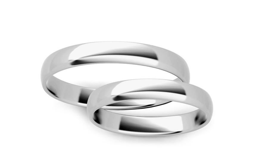 Klasické bílé snubní prstýnky 3 mm STOB10003-3A