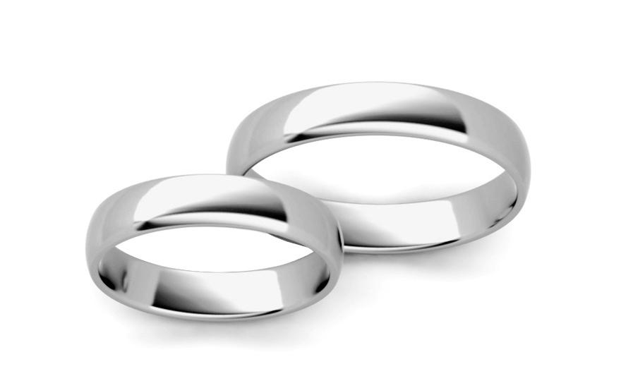 Klasické bílé snubní prstýnky 4 mm STOB10003-4A