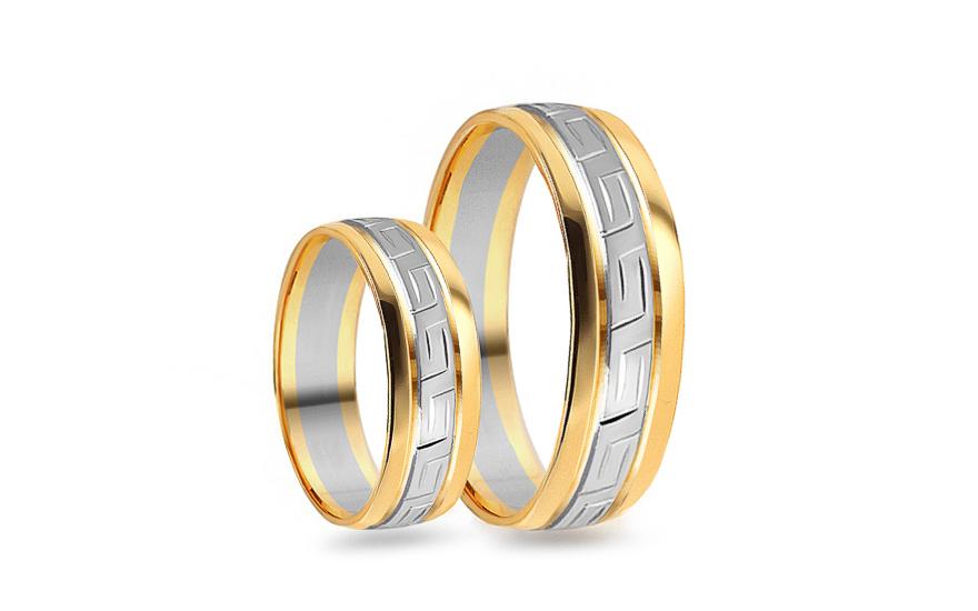 Snubní prsteny zaoblené kombinované se vzorem šířka 5 mm CSOB105
