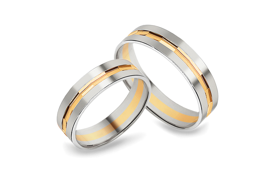 Snubní prsteny kombinované šířka 5 mm CSOB115A