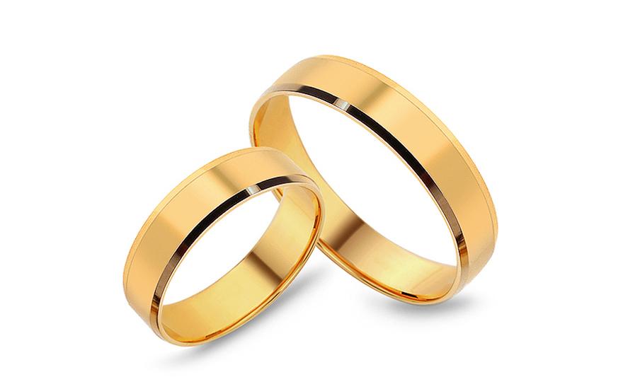 Snubní prsteny klasické žluté šířka 5 mm CSOB60