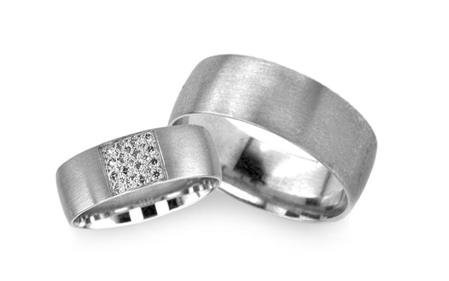 Klasické snubní prsteny z bílého zlata se zirkony RYOB118