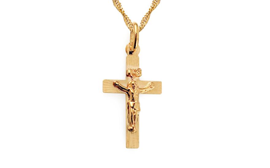 Křížek přívěsek ze zlata s umučením IZ3635