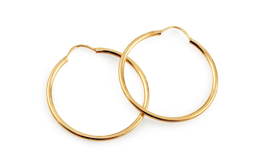 Kruhy zlaté náušnice 2,4 cm nízká cena IZ3282