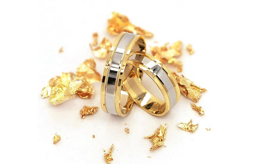 Snubní prsteny klasické dvoubarevné šířka 5 mm CSOB130
