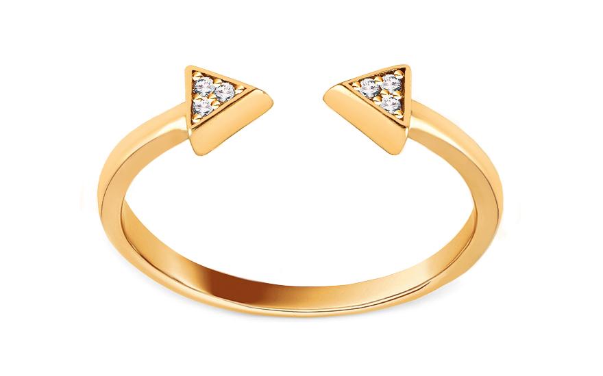 Moderní zlatý otevřený prsten se zirkony a729d7a64f5