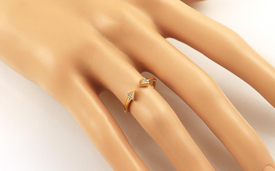042ecfbdc Moderní zlatý otevřený prsten se zirkony, pro ženy (IZ16545 ...