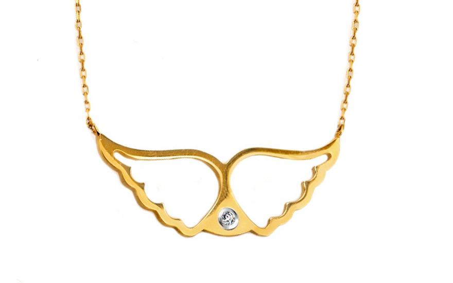 Náhrdelník Andělská křídla s diamantem IZ4101
