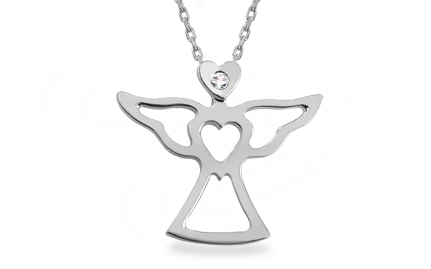 Náhrdelník s diamantem 0,010 ct Anděl z bílého zlata IZ12466A