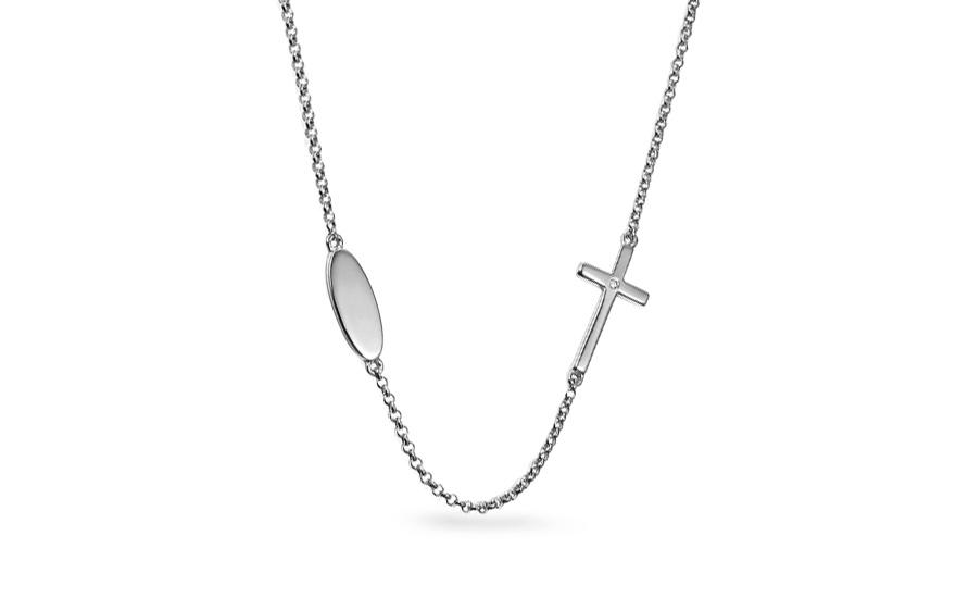 105506b08a6 Náhrdelník z bílého zlata s křížkem a diamantem 0