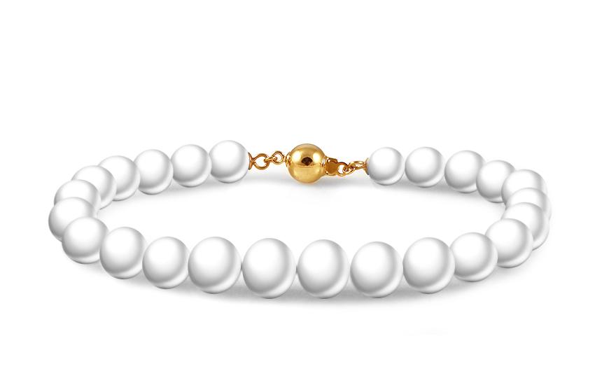 Náramek z přírodních bílých perel PE60YN