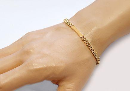 5417617df ... Zlatý pánský náramek s plotýnkami Alberico 2